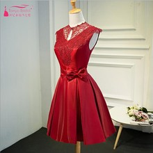 Red Party font b Dresses b font High Collar Lace Knee Length font b Cocktail b