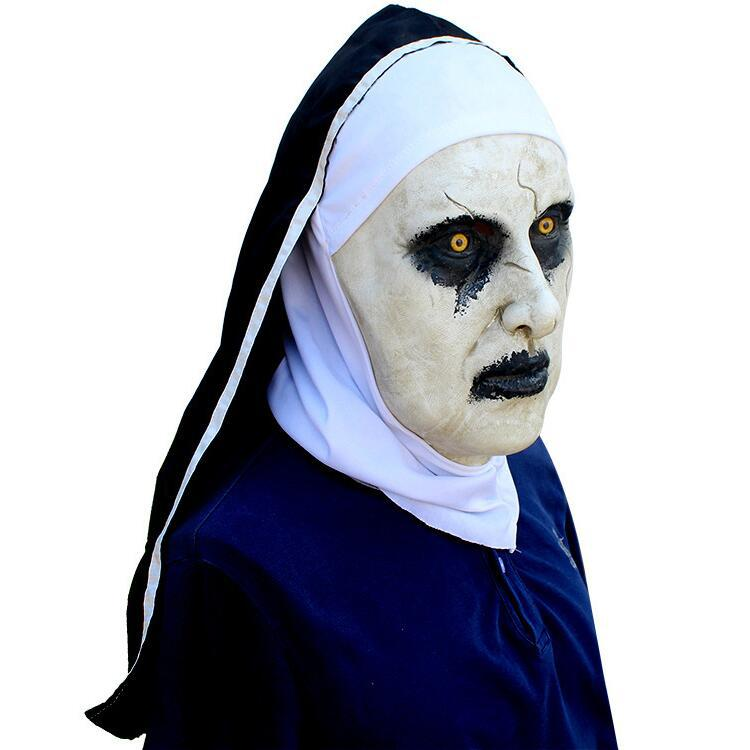 Cosplay Movie The Conjuring 2 The Nun Latex Mask Devil Sorcerer Ghost Mask Headgear Halloween Horror Spoof Mask Headgear Adult P