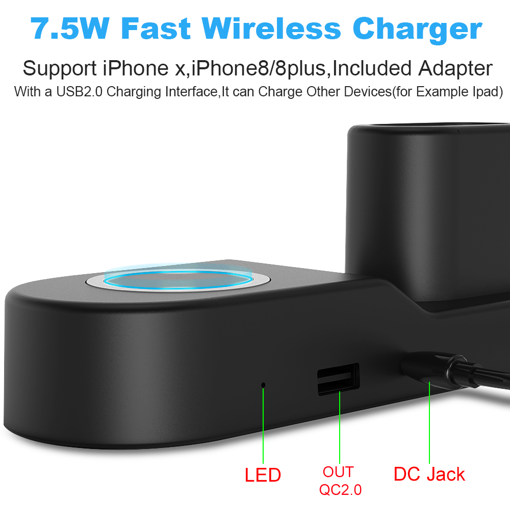 Ascromy Fast Wireless Charger Pad Dock Station For iPhone XS Max XR X 8 Plus 10 Apple Watch 3 2 Induction Charging Stand AirPods (4)