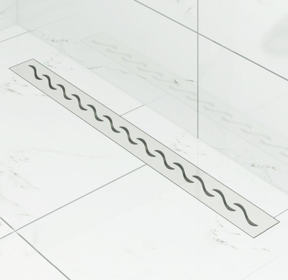 DIYHD 60 cm-100 cm S drain de douche coupe vague en acier inoxydable Drain de douche linéaire Long Drain de sol avec filtre à cheveux