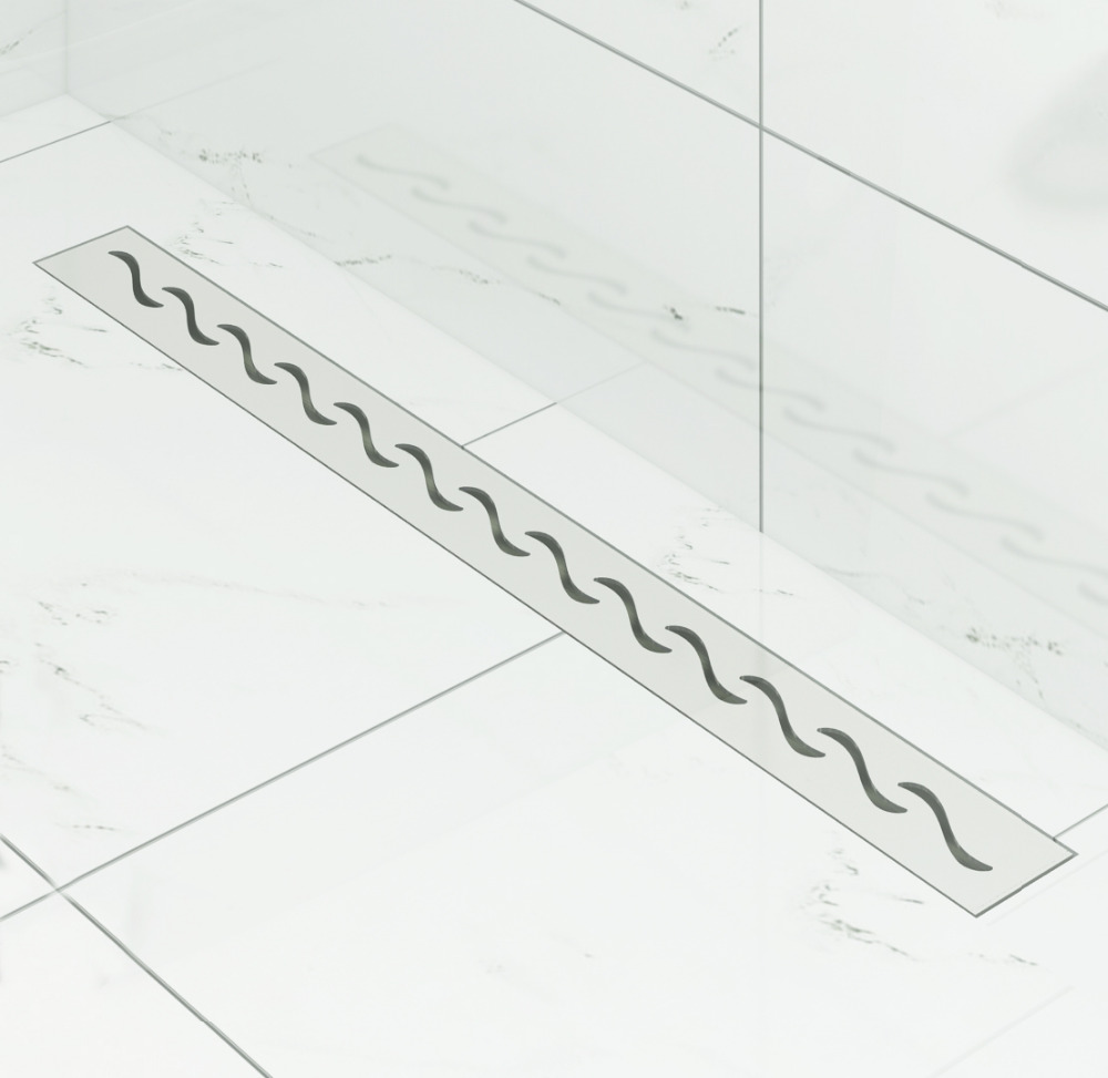 DIYHD 60cm-100cm S Wave Cut Shower Drain Stainless Steel Linear Shower Drain Long Floor Drain With Hair Filter