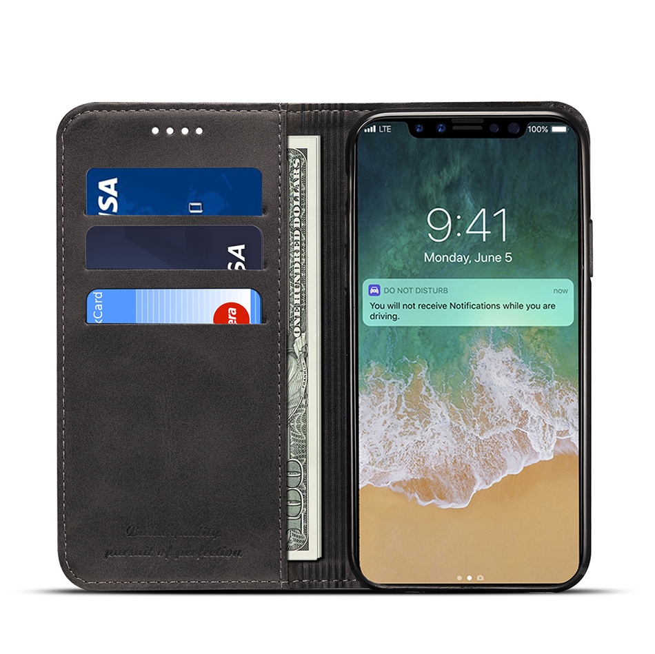!ACCEZZ Luxury Leather Phone Case Card Pocket Full Protective Cover For iphone X XS MAX XR Wallet Flip Cases Shell Stand Holder (9)