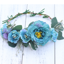 Summer Hair Band Scrunchy Flower Crown Festival Wedding Girls Party headband flower Garlands Halo Headband Wreath flower overlay headband