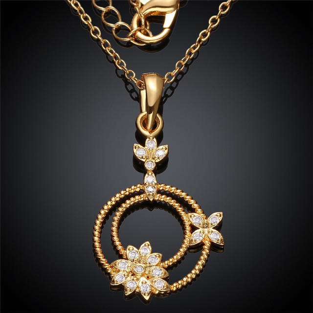 Women S 24k Yellow Gold Rose Gold Color Pendant Necklace Flower