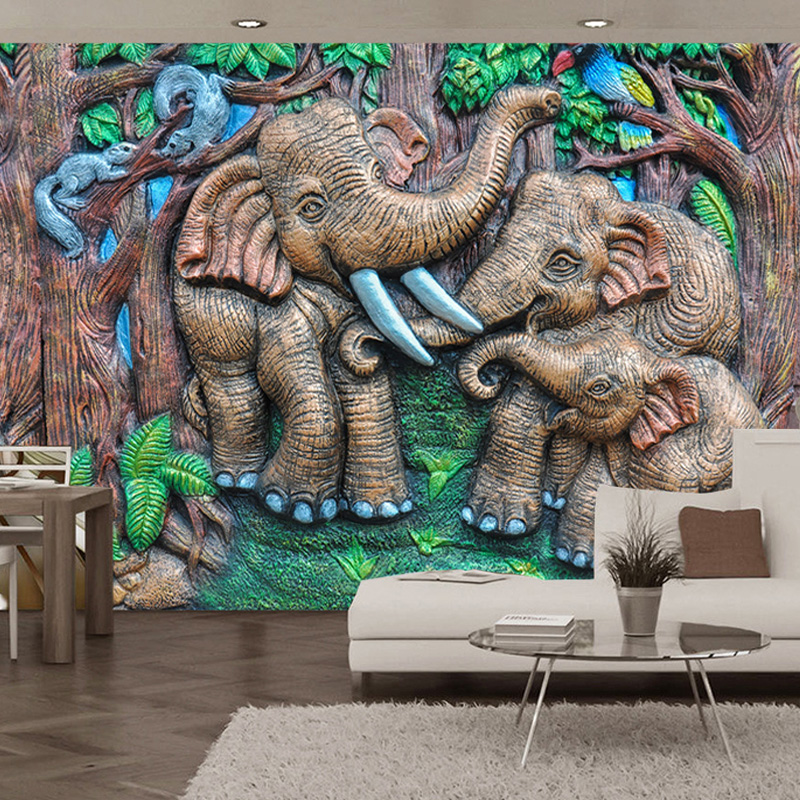 Personalized Customization 3D Wallpaper Stereo Relief Forest Animal Elephant Photo Mural Kid's Room Modern Creative 3D Wallpaper
