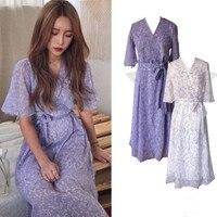 2018 Vintage Chiffon Dress Women Summer v neck Elegant slim waist Wrap Dresses Casual Floral printed Dress