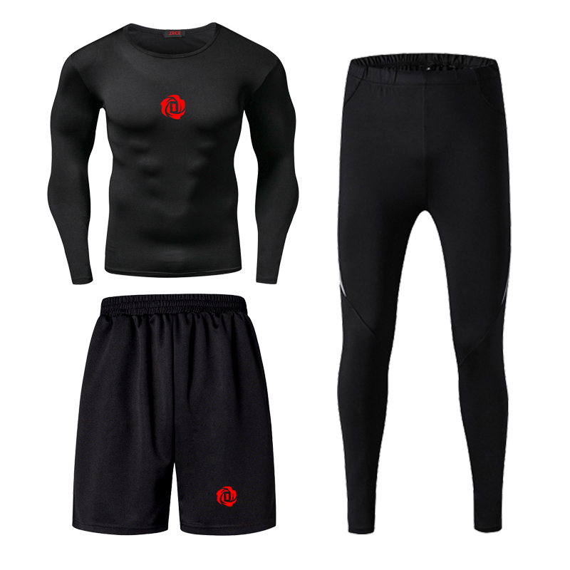 Jordan Kobe James Men Fitness Wear Tights Sportswear Basketball Training Quick Drying Three Running Clothes Gym Compression Sets - 2