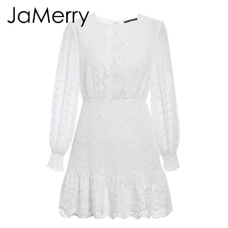فستان قصير مثير من الدانتيل الأبيض من JaMerry فساتين نسائية بأكمام طويلة منتفخة ونقاط فساتين نسائية فاخرة رفيعة للحفلات الصغيرة
