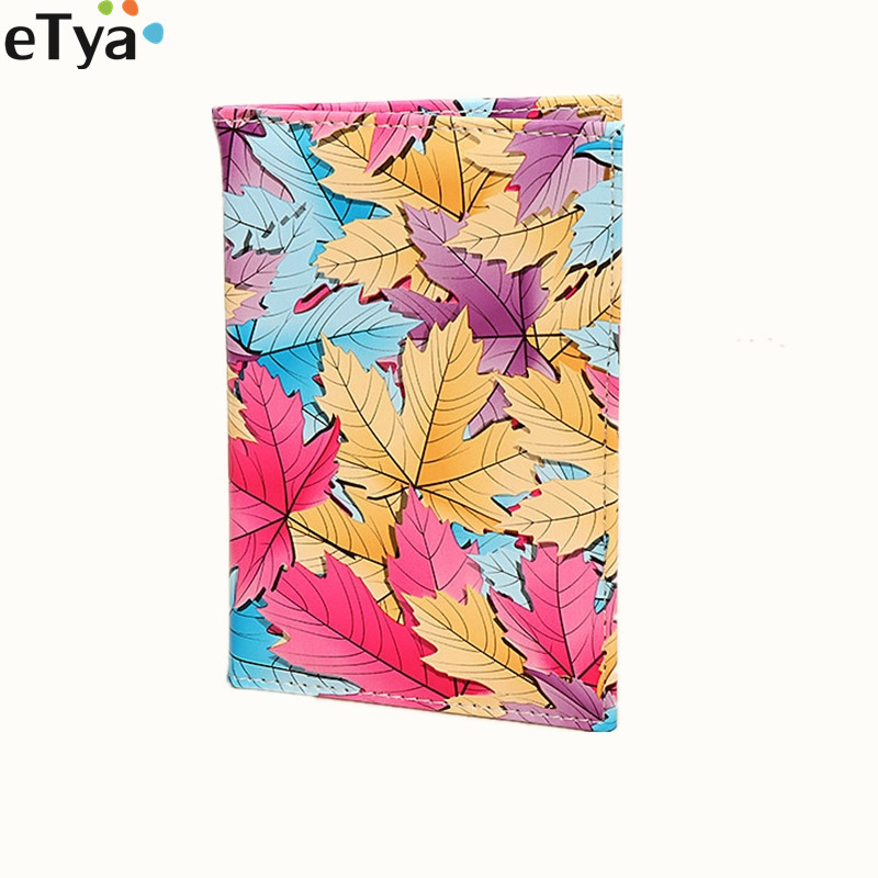 ETya Fashion Pu Leather Colourful Women Passport Cover  Female Passport Card Holder Wallet Organizer Case Pouch