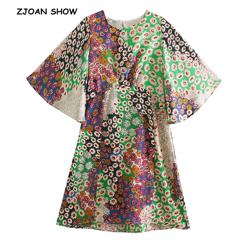 2019 Retro Colored Daisy Flower Backless Dress Sexy Women Short Flare Sleeve Hollow Out Back Mini Short Dresses Femme Vestido