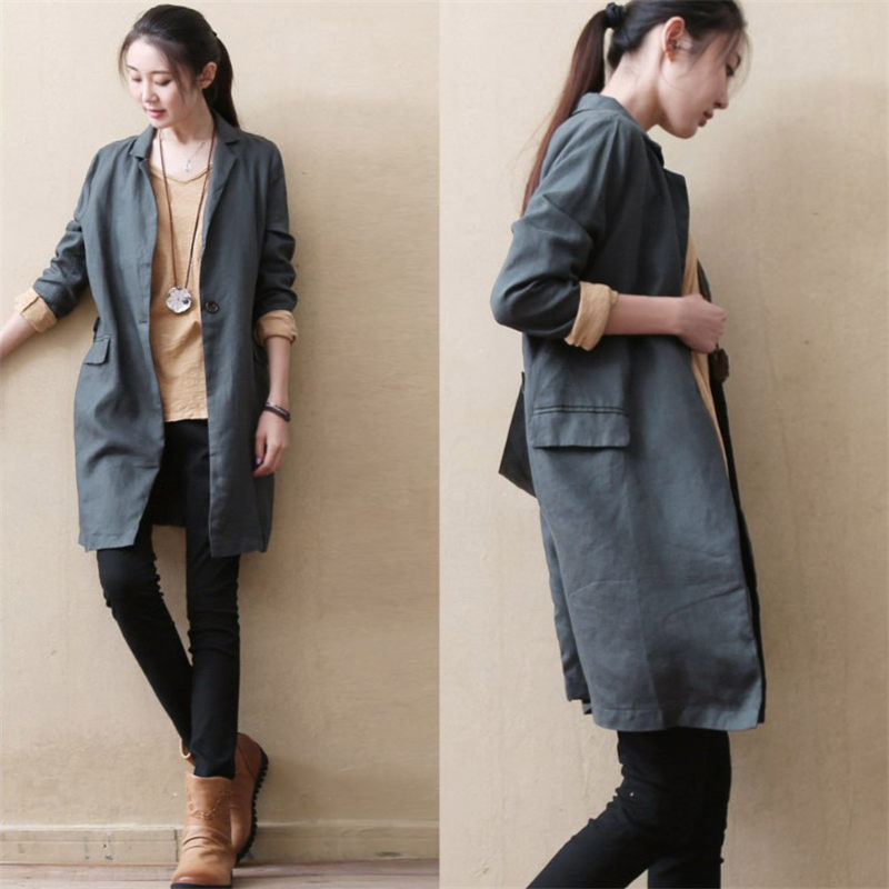 Linen Women's Long Windbreaker Leisure Suit Jacket Female One Button Solid Color Casacas Casuales Para Mujer Thin Outerwear F921