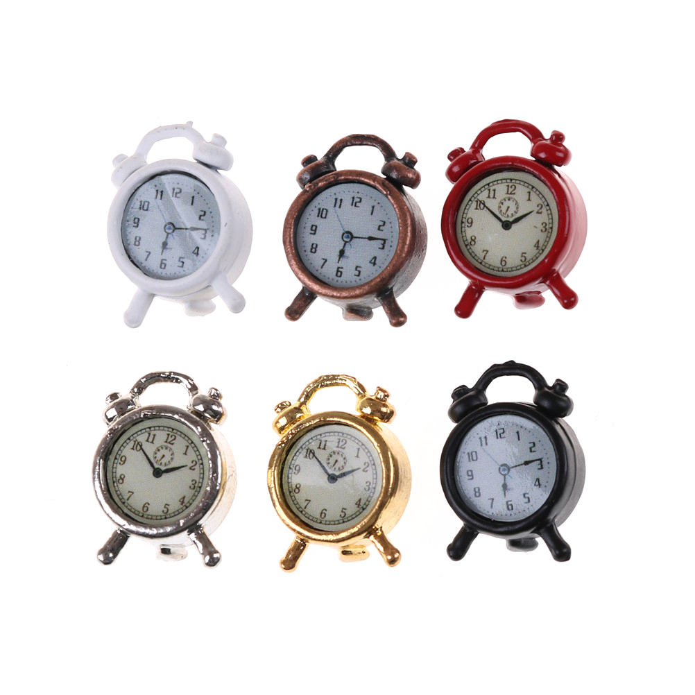 1pcs Lovely 1:12 Scale Alarm Clock Mini Dollhouse Miniature Toy Doll Kitchen Living Room Accessories Home Decoration 6 Colors