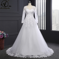 Long Sleeves Wedding Dresses Vestido De Noiva A Line Bridal Gown Elegent Sweetheart Backless Dress For Bride Vestido De Festa
