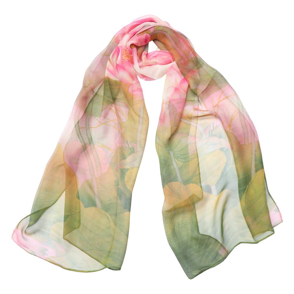 Womens 100/% Georgette Scarf Satin Scarf Fashion Scarf Neck Wear Fashion Women Lotus Printing Scarves
