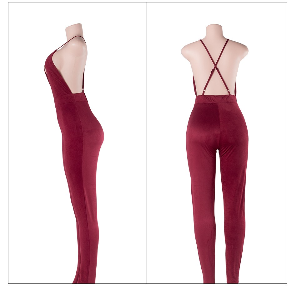 Sedrinuo Sleeveless Elegant Jumpsuit Fashion Bodycon Deep V neck Halter Cross Suede Sexy Club Jumpsuits and Rompers for Women 23