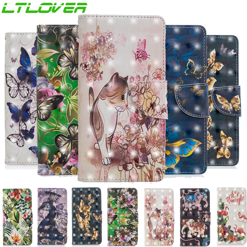 New Cute 3D flamingo flower butterfly peacock PU leather