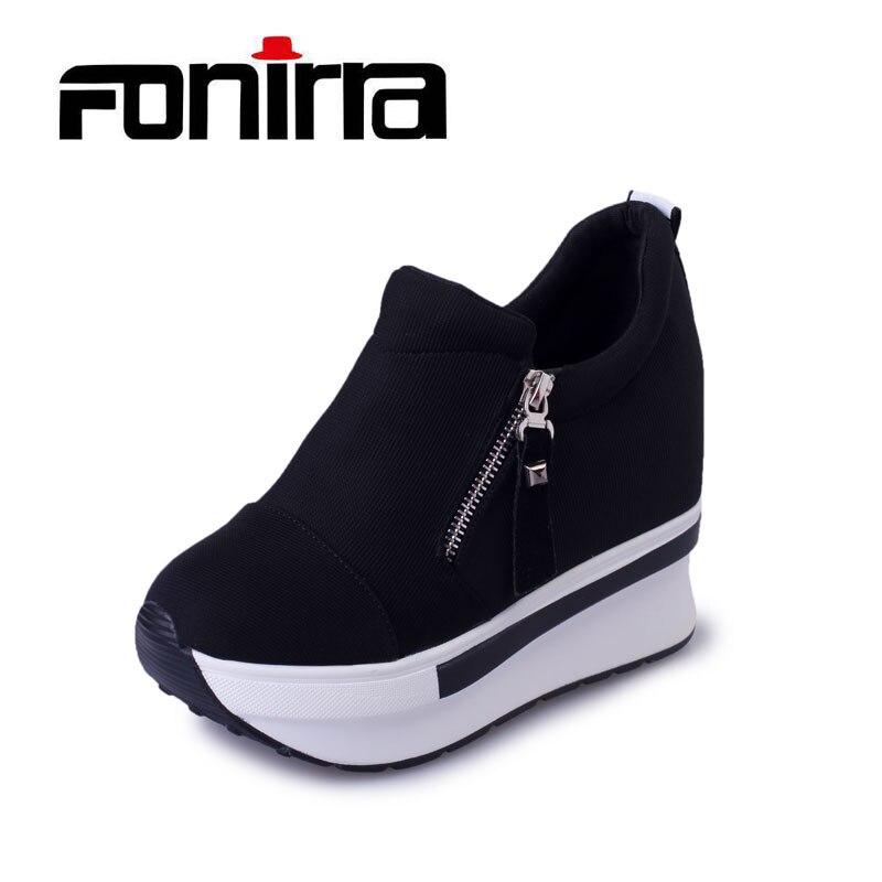 Femmes Casual Croissante Chaussures Printemps Plate-Forme de Mode Chaussures Avec Zip Casual Doux Sneakers Femmes Peu Profondes Chaussures Shake FONIRRA 171