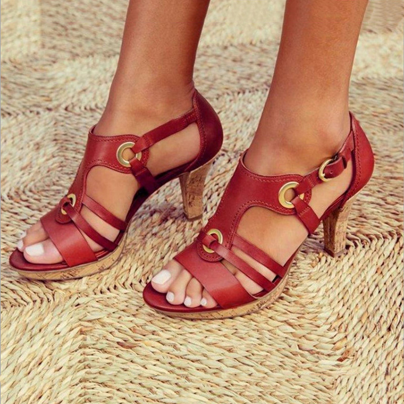 Buckle Strap Sandals Women 2019 Sandals Female Bohemian Style Summer Fashion High Heels Women's Shoes