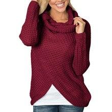 Women Sweaters Knitted Long Sleeve TurtleNeck Casual Knit Loose Sweater Pullover Tops Mujer Winter Streetwear Slit Sweater slit lace spliced loose sweater