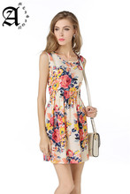Ameision woman Beach Dress Summer Boho Print Clothes Sleeveless Floral Peacock Feathers Party Dresses Casual Short Sundress