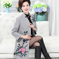 Las mujeres de mediana edad ropa qiu dong largo abrigo de paño de lana paño bordado yardas grandes P88060