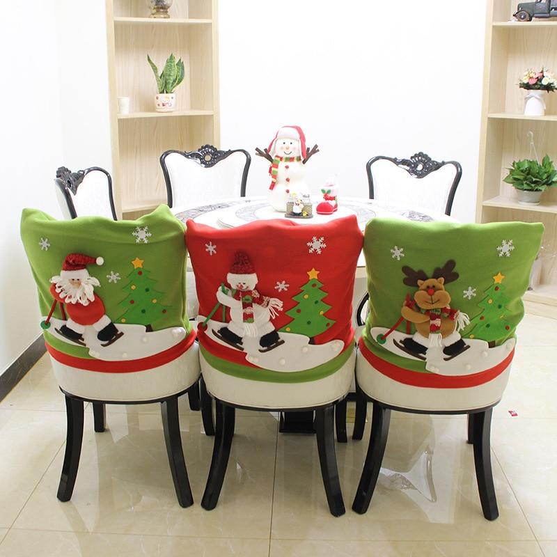 3pcs Set Santa Green Red Hat Chair Covers Christmas Decor Dinner Chair Xmas Cap Sets Christmas Decorations