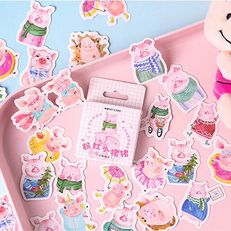 46 Pcs/box Pink Cute Pig Mini Paper Sticker Decoration DIY Diary Scrapbooking Seal Sticker Kawaii Stationery