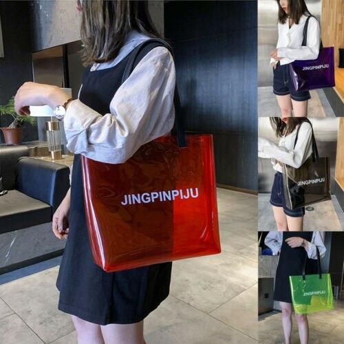 Girl Clear Tote Bag PVC Handbag ShoulderTransparent  Shopper Travel Makeup Bag