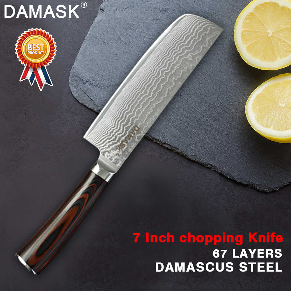 Damask Japanese Kitchen Knife Professional Japan VG10 Damascus Steel Chef Knife High Hardness Color Wood Handle Meat Cleaver