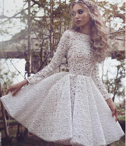 Little-White-Lace-Long-Sleeves-Short-Cocktail-Party-Dresses-High-Neck-Knee-Length-Girls-Short-Prom (1)
