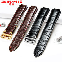 14mm 18mm 20mm High Quality balck Brown Genuine Leather Watch Band Strap Gold deployment Buckle Clasp fit blue balloon