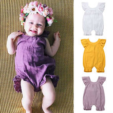 Cute Baby Girl Ruffle Solid Color Romper Jumpsuit Outfits Sunsuit for Newborn Infant Children Clothes Summer Romper Clothes(China)