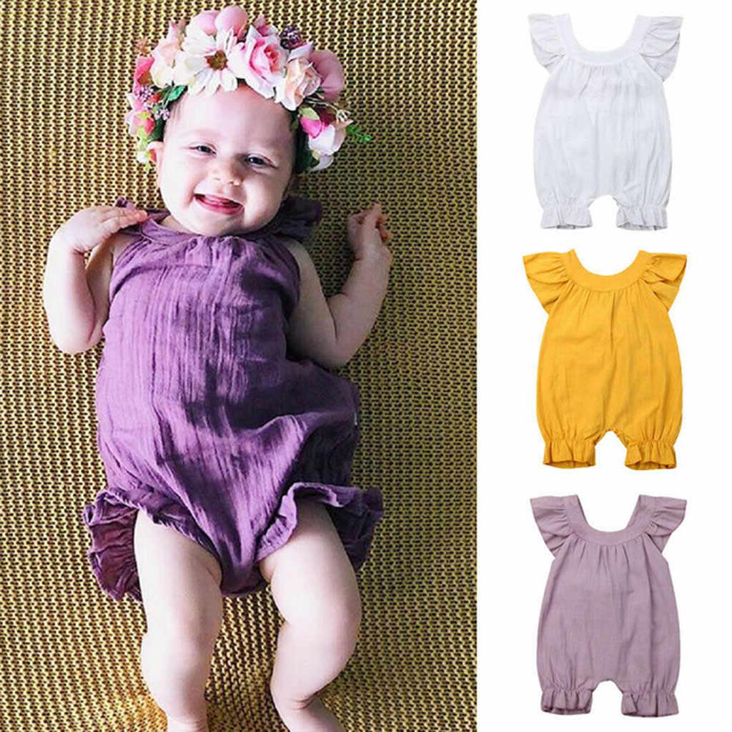 Schattige Baby Meisje Ruche Effen Kleur Romper Jumpsuit Outfits Sunsuit voor Pasgeboren Baby Kinderen Kleding Zomer Romper Kleding