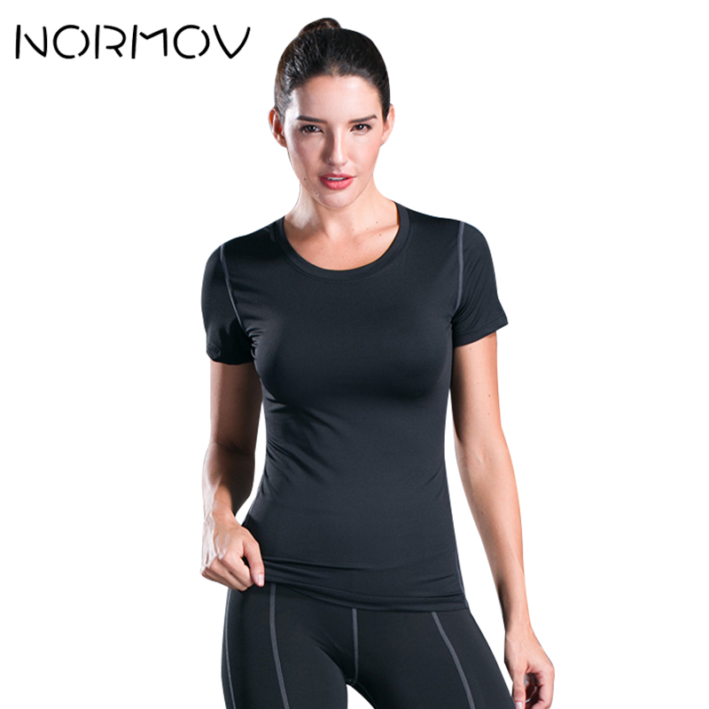 NORMOV Solid Short Sleeve Yoga Shirt Women Blouse Fitness Clothing Gym Top Sweatshirt Sportwear Female Quick Dry T Shirt Femme