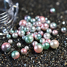 Mix Size Pearl Magic Design Mermaid Gradient Pink Green Symphony Charms Beads 3D Nail Art Tips Decoration Jewelry Manicure