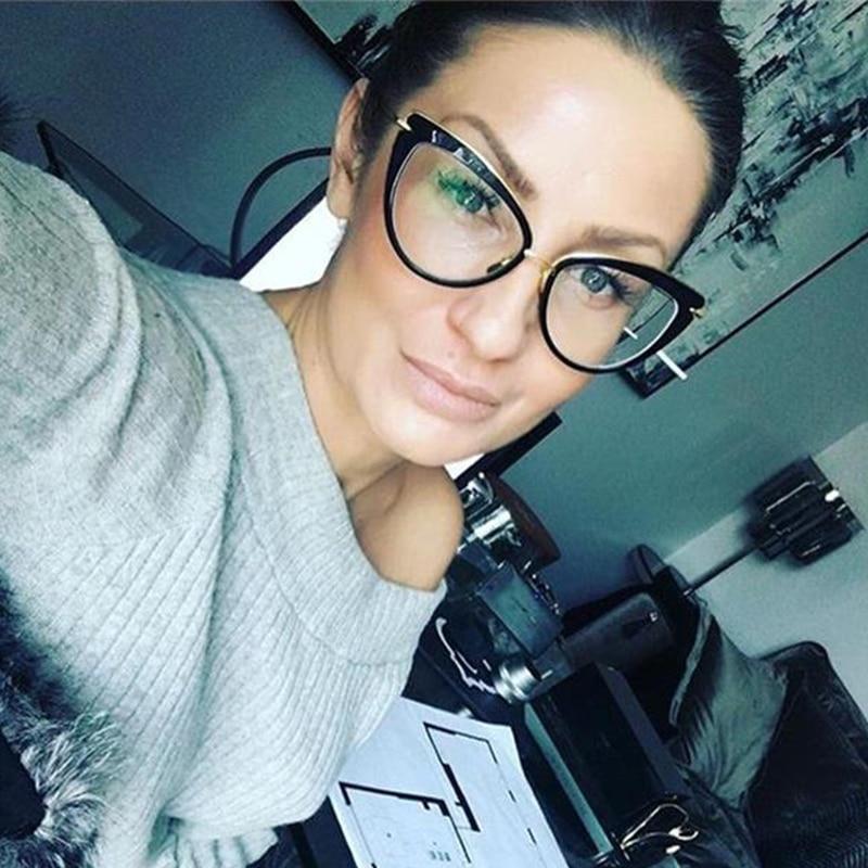 Eye Glasses Frames For Women Cat Eye Glasses Frame Clear Lens Women Eyeglasses Frames Vintage Transparent Eyewear Glasses TR90