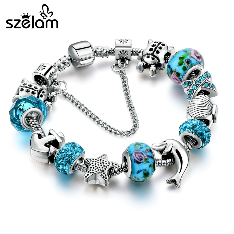Dropshipping Ocean Style European Crystal Charm Bracelet For Women With Star Anchor Dolphin