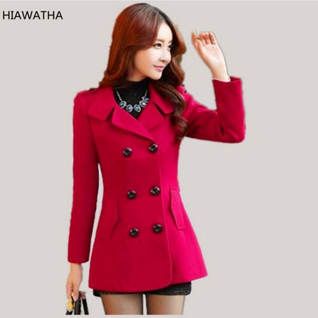 HIAWATHA Women Woolen Coats Winter Trench Coat Fashion Solid Double Breasted Overcoat Turn-down Collar Slim Outerwear C8103