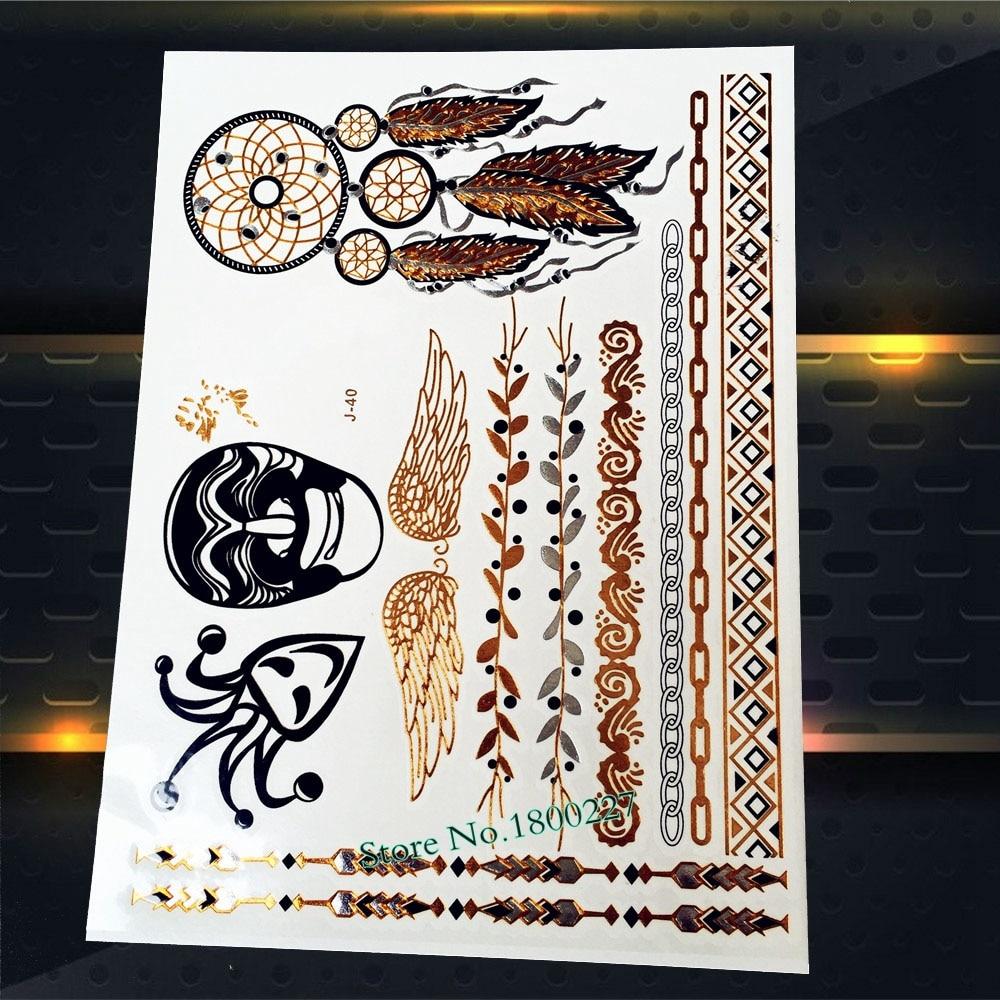 Henna Lace Bracelet Temporary Tattoo Sticker: 1PC Angel Wings Gold Temporary Tattoo Stickers