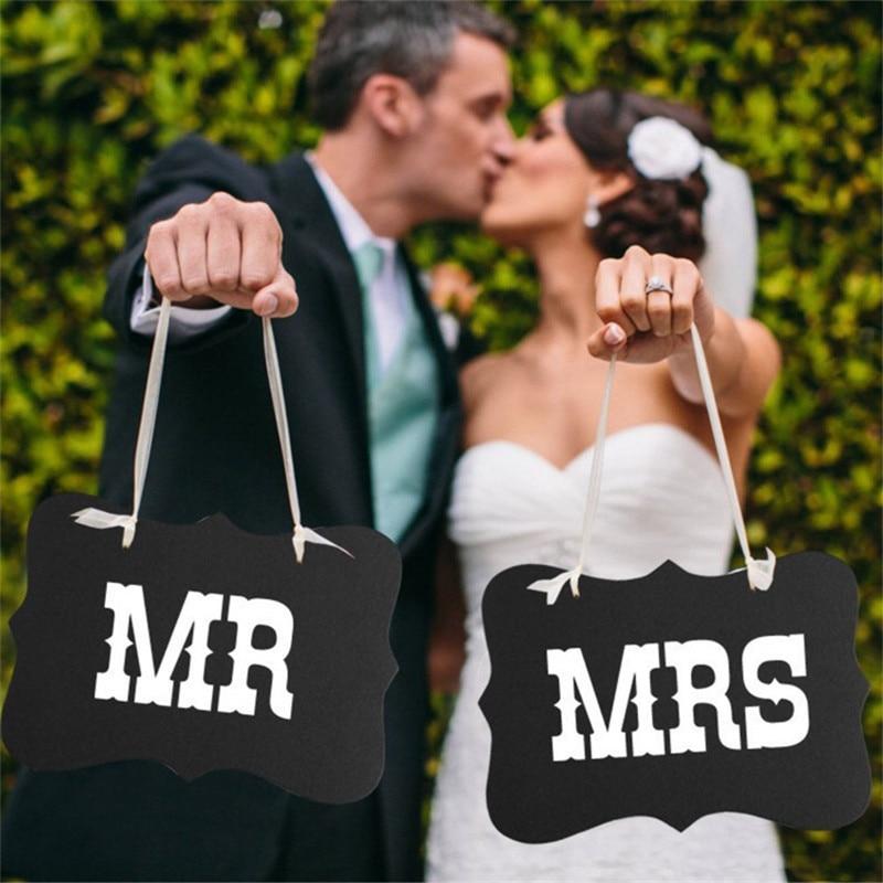 DIY черный mr Mrs Бумага доска + ленты Войдите Photo Booth Реквизит Свадебные украшения вечере фотосессия для свадеб