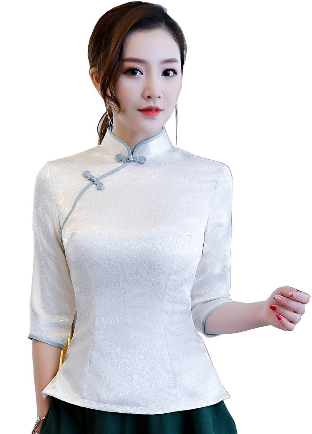 26cf732ccec7e Shanghai Story traditional chinese tops 3 4 Sleeve cheongsam top  traditional Chinese Top Blend Cotton