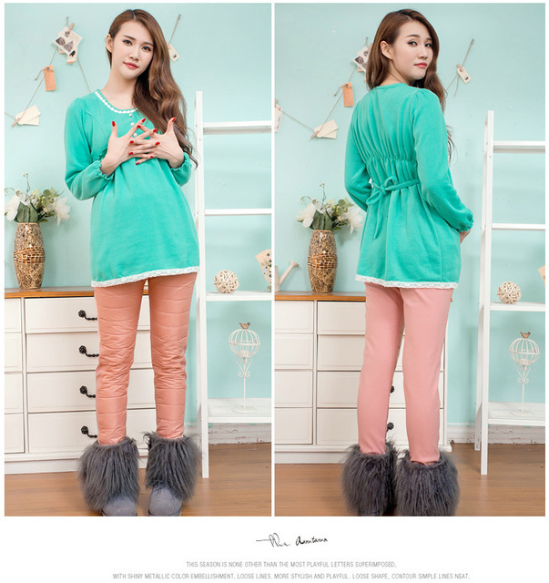 Pregnancy Pants Winter Warm Straight Maternity Clothes for Pregnant Women Wear Fashion Pregnant Clothes M-XXL Candy Color