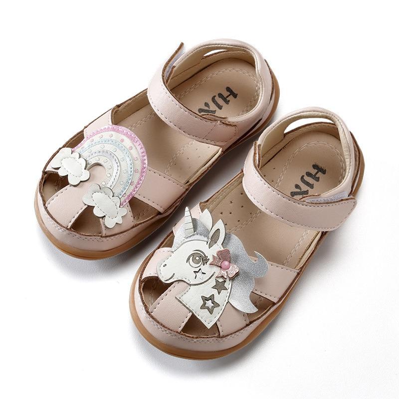 Chaussures licorne pour filles 2019 sandales pour filles en cuir PU haute qualité enfants tongs chaussures imperméable enfant en bas âge antidérapant