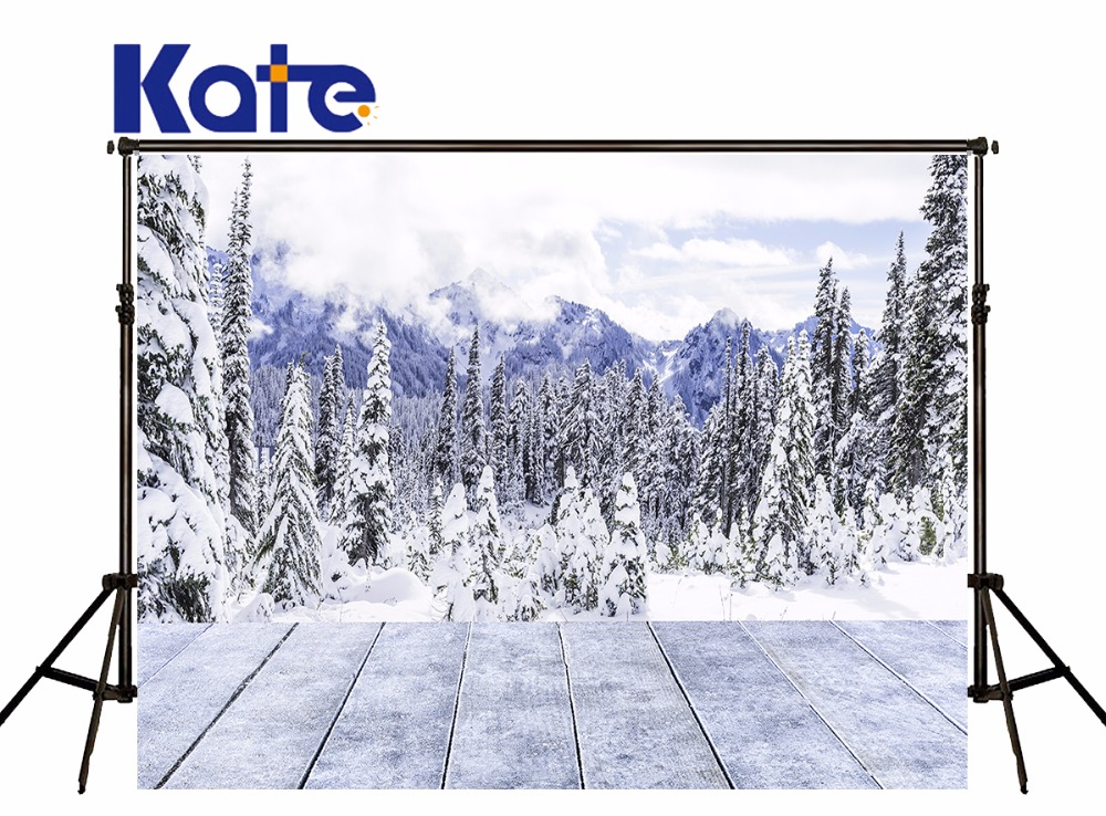Kate Frozen Snow Photography Backdrops Tree Snow-Capped Mountains Winter Background Wood Floor For Wedding Photo Studio дон jsd 20 egft winter mountains