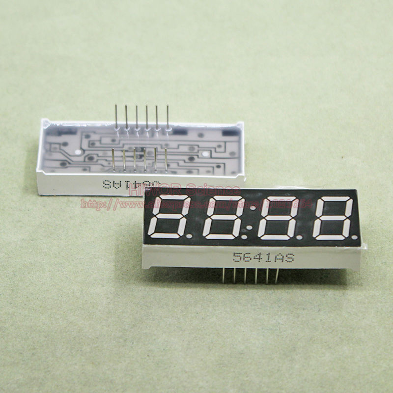 (10pcs/lot) LED Display 0.56 Inch 4 Digits 7 Segment Red Clock LED Display 12 Pins Share Common Cathode Digital Display