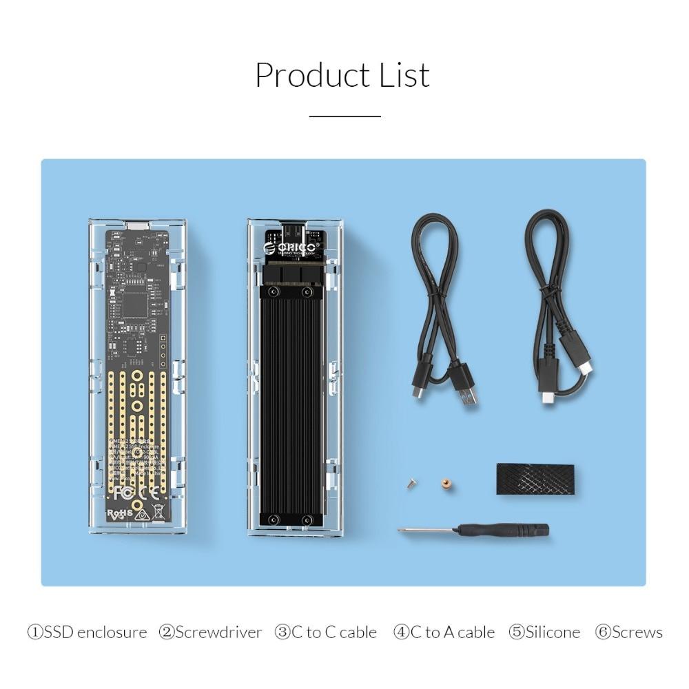 Boîtier SSD M.2 Transparent ORICO 10 Gbps compatible protocole UASP USB3.1 Gen2 boîtier Mini SSD type-c avec C à C et C à un câble - 6