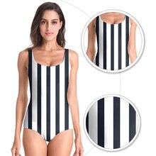 2019 Mayo Bayan One Piece Swimsuit Black and White Stripe Bathing Suit Printed Beach Wear Monokini Women Swimwear Swim Suit Uk цена