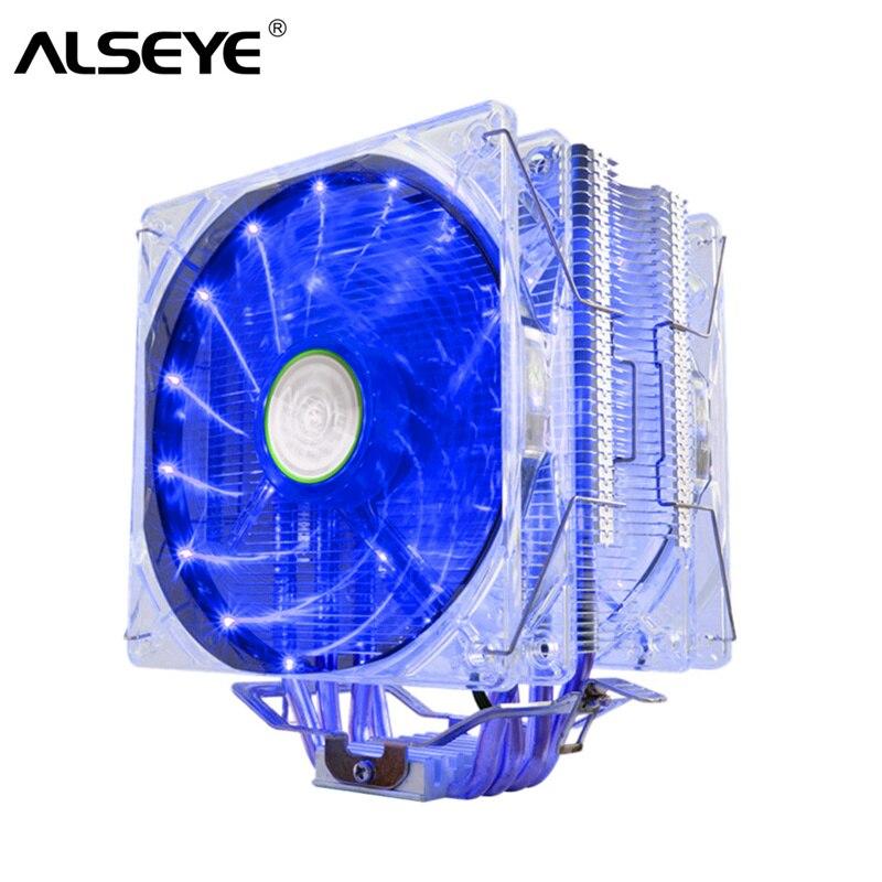 ALSEYE EDDY-120 CPU Cooler 4 tubos de calor TDP220W dual PWM 4 mm 120mm LED ventilador Cooler para LGA 775/115x/AM2/AM3/AM4