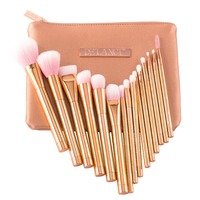 DE LANCI Pro 15pcs Makeup Brushes Set Foundation Blush Powder Eyebrow Highlighter Brush Rose Gold Metallic
