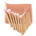DE'LANCI Pro 15 pcs Makeup Brushes Set Fundação de Blush Em Pó Sobrancelha Pincel Marcador Metálico ouro Rosa Cosméticos compo o Saco